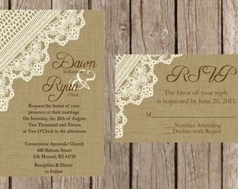Burlap and Lace Wedding Invitation, Rustic Wedding Invitation, Vintage Wedding Invitation, Western Wedding Invitation