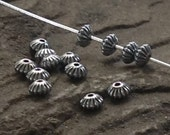 Sterling Silver Spacer - 2mm x 3.3mm Saucer Beads - 50 Corrugated Seed Beads - MB222a