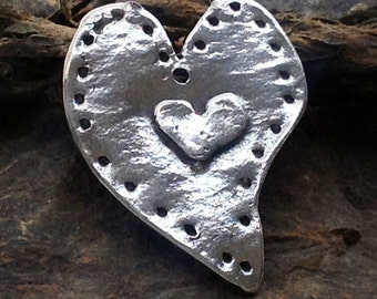 Large Sterling Silver Heart Pendant - Oxidized Sterling Silver - 1 EXTRA LARGE  Boho Charm - 35mm - AC55