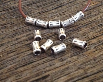 Bamboo Beads - 20 Fine Silver Tube Spacer Beads 5.25mm x 3mm crafted by Karen Hill Tribe  MB65