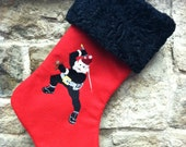 Ninja Santa Machine Embroidered Felt Stocking