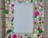 Mosaic Picture Photo Frame with Jewels, Beads, and Rhinestones - Pink, Green