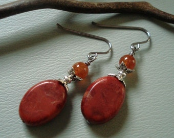 Red Sponge Coral and Carnelian  Earrings