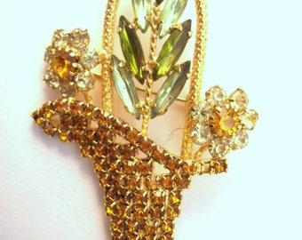 Rhinestone flower basket brooch
