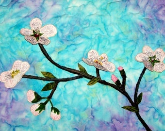 Cherry Blossoms Textile Art Wall Hanging