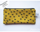 Fabrics purse pencil glases case Playground CROWN design pouch