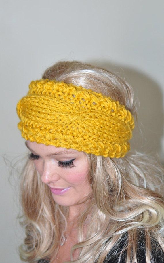 Items similar to Ear Warmer Cabled Crochet Headband Knit ...