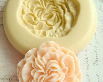 Peony Blossom - Flexible Silicone Mold - Push Mold, Jewelry Mold, Polymer Clay Mold, Resin Mold, Craft Mold, Food Mold, PMC Mold