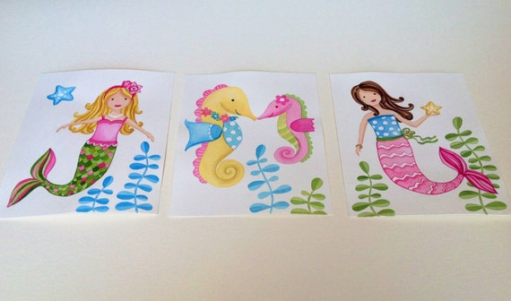 Items Similar To Girls Baby Nursery Art Mermaids Seahorse