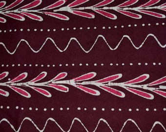 Bagh print  Indian summer cotton fabric  in maroon color- One yard