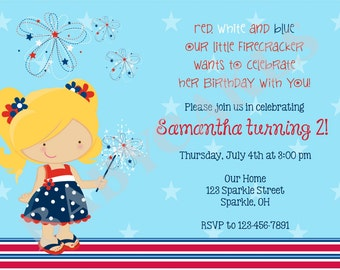 4th of july invitation july 4th birthday invitation july 4th Party invitation Invite independence day CHOOSE YOUR GIRL Print your own