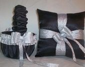 Specail Order For Sam Black Satin With Silver Metalic Ribbon Trim  Flower Girl Basket Set 2 And 1 Garter Black Satin With Silver Lace