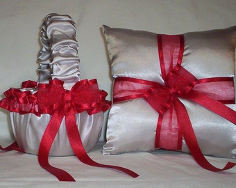 Silver Satin With Red Ribbon Trim Flower Girl Basket And Ring Bearer Pillow Set 2