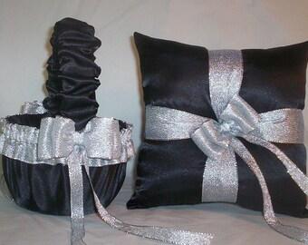 Black Satin With Silver Metalic Ribbon Trim  Flower Girl Basket And Ring Bearer Pillow Set 2
