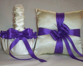 Ivory Cream Satin With Purple  Ribbon Trim Flower Girl Basket And Ring Bearer Pillow