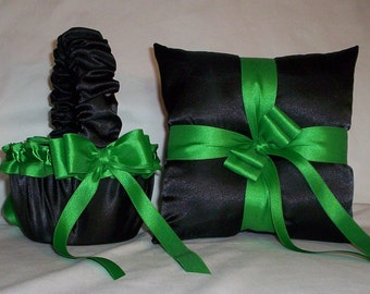 Black Satin With Kelly Green Trim  Flower Girl Basket And Ring Bearer Pillow