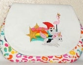 Zipper Pouch With Rainbow Unicorn Riding Gnome Embroidery and Rainbow Leopard Print Body