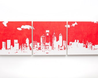 Philadelphia Skyline Triptych (Red and White) City Skyline 3 x 1 Foot Screenprint/Painting Large Wall Art