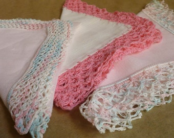 3 vintage Hankies with tatting and crochet, pinks