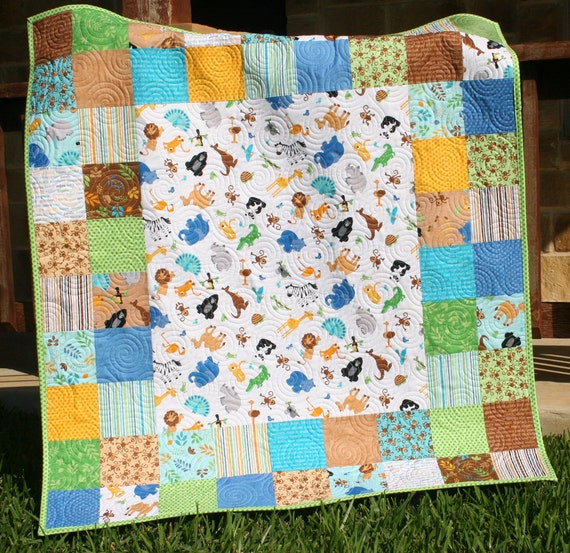 Animal Baby Quilt Patchwork Safari Zoo Jungle By