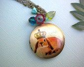 Bunny Locket Necklace in Brass with charms