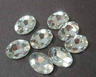 2pcs- Vintage Faceted Glass Jewels Clear Oval 18x13mm