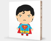 S for Superman : ABC Block Bamboo Wall Art Series // Alphabet Kids Wall Art Nursery Room Decor Superhero Sci-fi