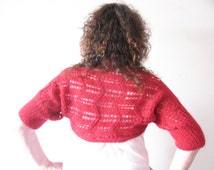 Mohair Shrug Bolero , Clearance Sale ,  Poppy red jacket , hand knit cardigan  ,  zig zag lace stripes with ribbed cuffs , half price