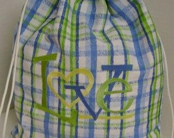 Love Blues and Greens Cinch Sac Backpack