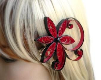 Red Hair Accessory, Punch Wedding Hair Clip, Asian Flower Hair Piece