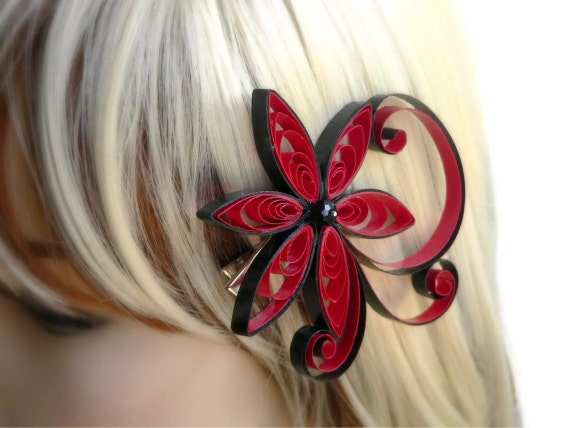 Red Hair Accessory, Punch Wedding Hair Clip, Asian Flower Hair Piece