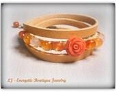 Pink rose Triple wrap Camel leather bracelet