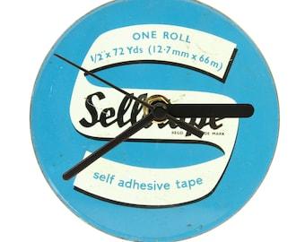 Upcycled, vintage, retro Sellotape tin clock