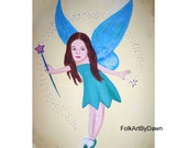 Girl's Room Painting Fairy portrait Wall Decor Art Canvas Personalized