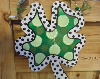 Shamrock Happy St. Patrick's Day Wood Cutout on a wire beaded hanger Special order  10 inches X 8.5 inches