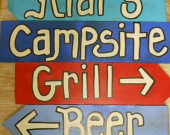 Campsite Sign What will your 4 signs say ? BEER Grill Grubb BBQ Cook OUT Friends 4 signs on a stake
