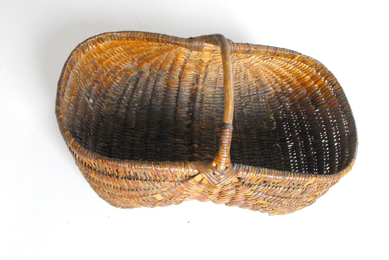 Old Handmade Baskets : French handmade basket vintage by vintagefrenchlinens