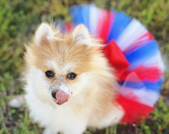 4th Of July Red White and Blue Super Fluffy Custom Dog tutu choose your colors SEWN Small to Large