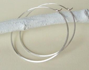 Large Sterling Silver Hoop Earrings, Brushed Hammered Hoops, Argentium Sterling Silver