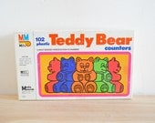 76 Vintage Teddy Bear Counters Miniature Plastic Bear Figurines Rainbow Mixed Media Assemblage Party Craft Supply