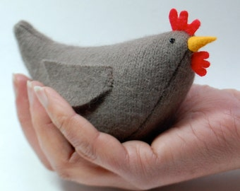 Easy Pattern for Wool Hen, pattern pdf for plush hen