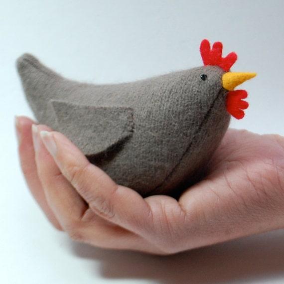 Easy Pattern for Wool Hen, pattern pdf for plush hen