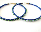 Devi Hoops - Royal Blue & Light Green - LaNomRahDesigns