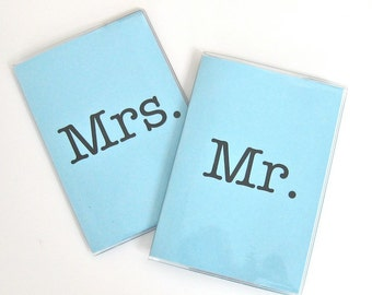 Light Blue Vinyl Passport Holder / Cover - Mr and Mrs - Perfect for Destination Weddings and Honeymoon Travel Set of 2 Something Blue