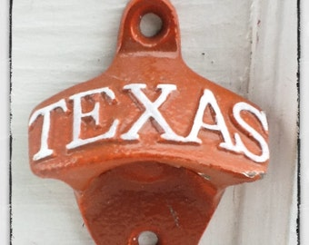 Rustic Cast Iron Texas Bottle Opener-Beer Soda Pop-Retro Opener -Wall Mounted-Texas Longhorns Football-June Trends-Gift For Dad