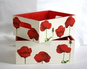 Two decoupage nesting trays, red poppies and cream, wood, home decor, vibrant, bright, flowers, summer, perfect gift