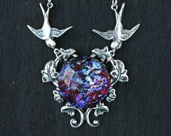 Fire Opal Necklace with Birds in Dragon Breath