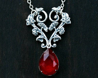 Ruby Red Crystal Teardrop Necklace