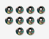 10 pcs 12mm Photo Glass Cabochons Cabs, Dolls, Japanese Doll, Washi Doll, Kokeshi Doll Image Cabochons, A38-11-152