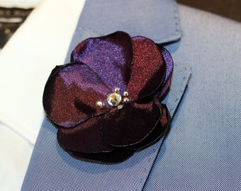 Plum purple flower with Swarovski crystals boutonniere, lapel pin for wedding, anniversary, size M